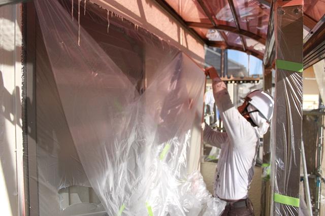 川越市 外壁塗装 養生