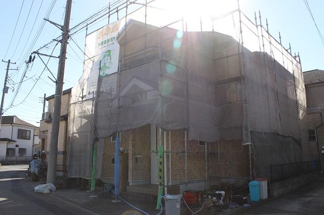 狭山市上奥富 外壁塗装用メッシュシート