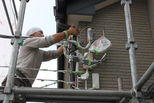 所沢市 外壁塗装前の養生