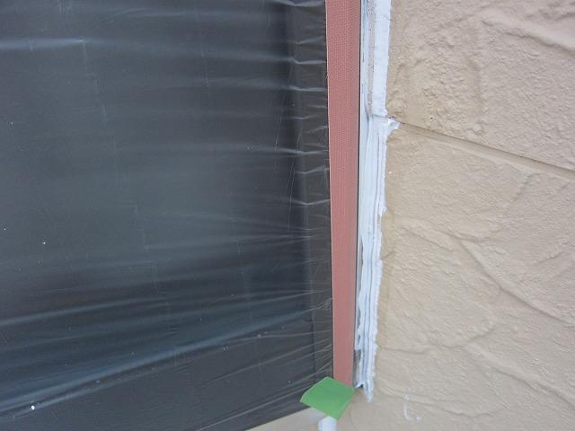 窓サッシの養生